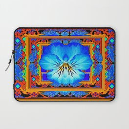 Orange Southwest Blue pansy Patterned Art Design Laptop Sleeve