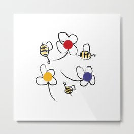 Bees and Flowers Children's Pattern Metal Print