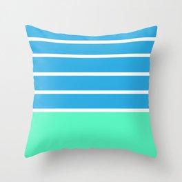 Stripes light blue pastel green and white Throw Pillow