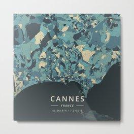 Cannes, France - Cream Blue Metal Print