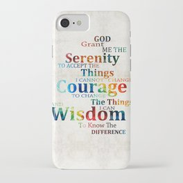 Colorful Serenity Prayer by Sharon Cummings iPhone Case