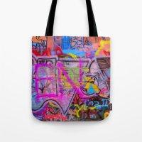 grafitti Tote Bags featuring Bright Grafitti by davehare