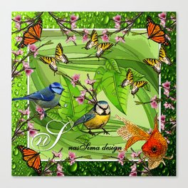 Birdy & Fishy spring green Canvas Print