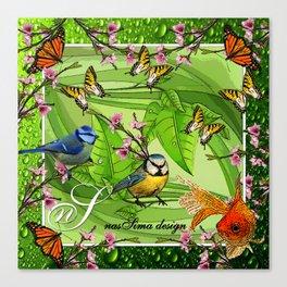 Birdy & Fishy spring green Canvas Print