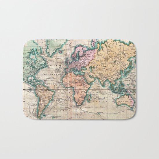 Vintage World Map 1801 Bath Mat