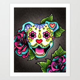 Smiling Pit Bull in White - Day of the Dead Pitbull Sugar Skull Art Print
