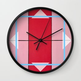 August - blue square graphic Wall Clock