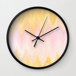 Modern hand painted pink yellow watercolor chevron ikat Wall Clock
