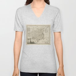 Map of China by Emanuel Bowen (1766) Unisex V-Neck