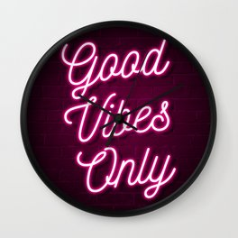 Good Vibes Only - Neon (Pink) Wall Clock