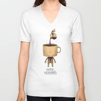 good morning V-neck T-shirts featuring good morning. by Louis Roskosch