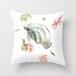 Manatee and Coral  Throw Pillow