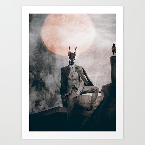 Watchdog in the moonlight Art Print
