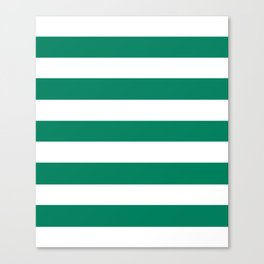 Spanish viridian - solid color - white stripes pattern Canvas Print