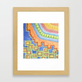 Striped Bungalows in the bright Sunlight Framed Art Print