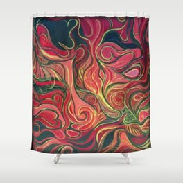 Abstract Red Gold and Black ~New Love Shower Curtain