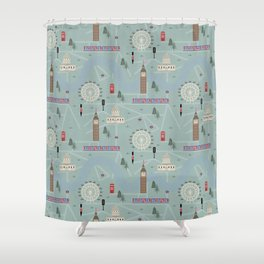 London Map Print Illustration Shower Curtain