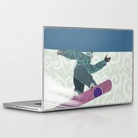 snowboarding Laptop & iPad Skins featuring Snowboarding by Aquamarine Studio