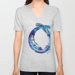 White And Blue Abstract Art - Swirling 4 - Sharon Cummings Unisex V-Neck