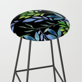 Blue and Green Leaves Bar Stool