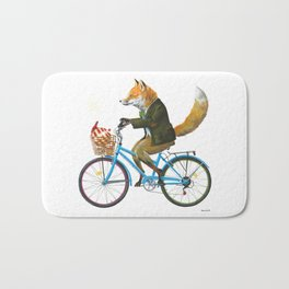 Fox goes to Tea (white) Bath Mat