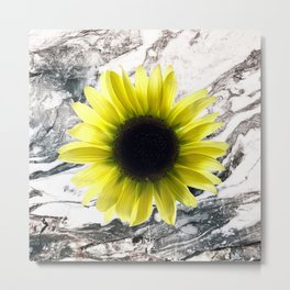 Marble and Sun Flower Metal Print