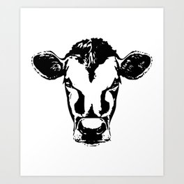 Cow face svg for cricut silhouette decals  yeti cup Farm svg ranch svg western cow Art Print