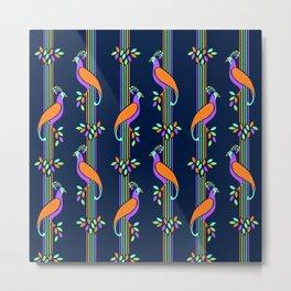Vintage Art Deco Birds and Stripes Pattern Metal Print