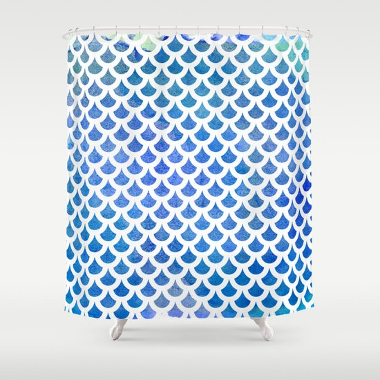 Fish Scale Pattern | Blue U0026 White Shower Curtain By Urbanemotions | Society6