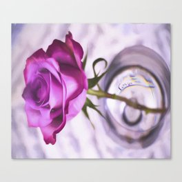Pink Rose Love In A Glass Canvas Print