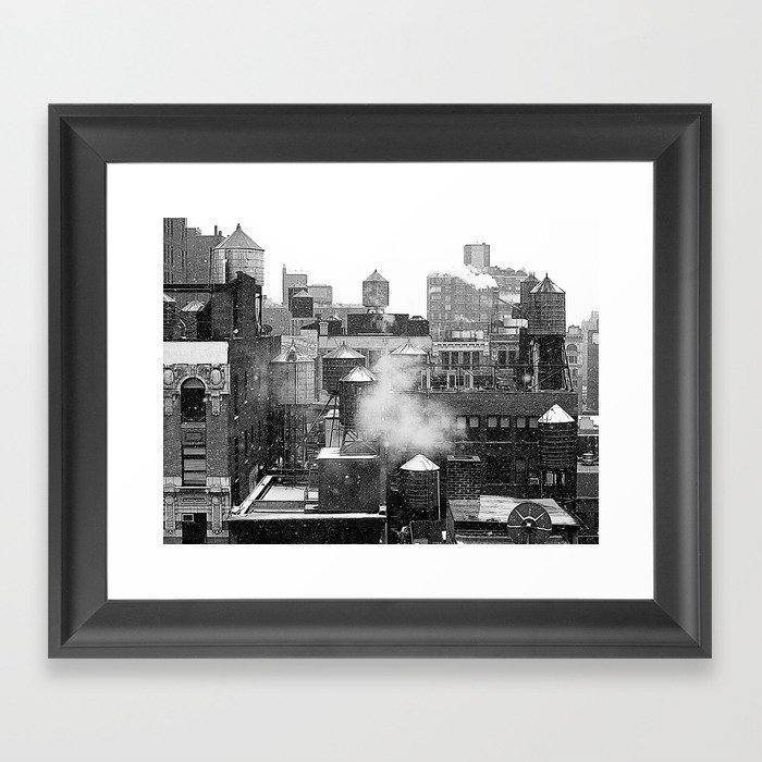 Water towers of the New York City. Framed Art Print