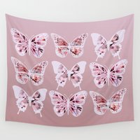 butterflies Wall Tapestries featuring Butterflies by Vickn