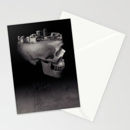 Urban Skull Horror Black and White City Stationery Cards