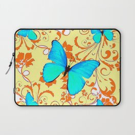 DECORATIVE BLUE BUTTERFLIES YELLOW FLORAL PATTERN Laptop Sleeve
