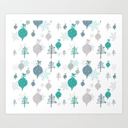 Christmas white ornaments Art Print