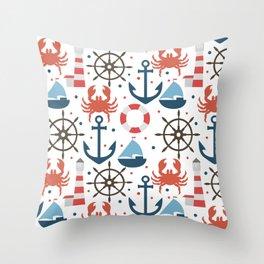 Sea white pattern Throw Pillow