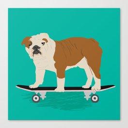 English bulldog skateboard funny pet portrait cute gift for dog person dog lover bulldog owner gifts Canvas Print