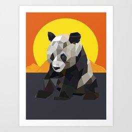 Panda and the sunset Art Print