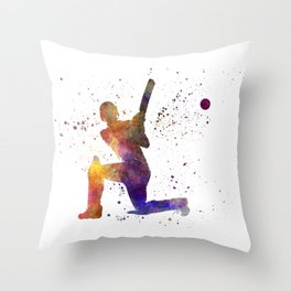 Cricket player batsman silhouette 08 Throw Pillow