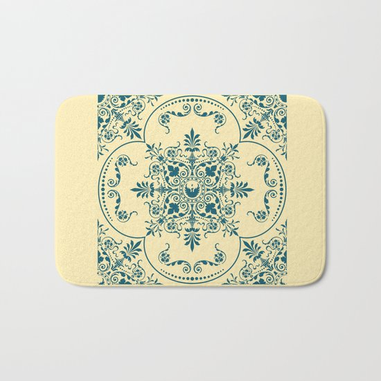 Decorative Pattern in Creme and Blue Bath Mat