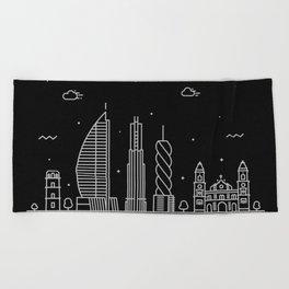 Panama City Minimal Nightscape / Skyline Drawing Beach Towel