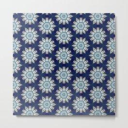 Daisies over Blue Geometric Pattern Design Metal Print