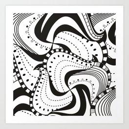 Black n White Zendoodle Waves Art Print