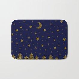 Sparkly Christmas tree, moon, stars Bath Mat
