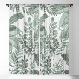 Tropical Rainforest - greenery Sheer Curtain