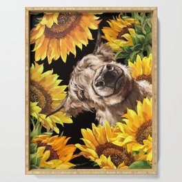 Highland Cown in Sunflowers Garden Serving Tray