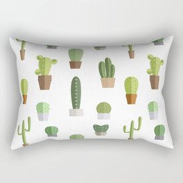 Seamless pattern with various cactuses in pots Rectangular Pillow