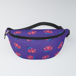 Pileas – Floral retro illustration in dark blue, red, pink and orange Fanny Pack