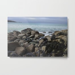 Waves Crashing on Seaweed Covered Rocks Metal Print