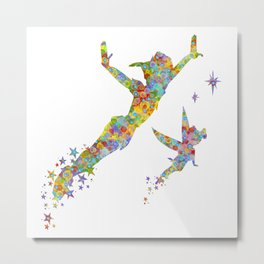 Peter Pan and Tinker Bell Watercolor Metal Print